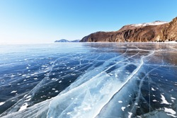 Cracks in the smooth surface of the ice of Lake Baikal