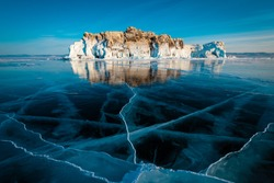 Cracks on the surface of the frozen lake baikal. The lake surface freezes in January and thaws in May or June. This season is winter in Russia.