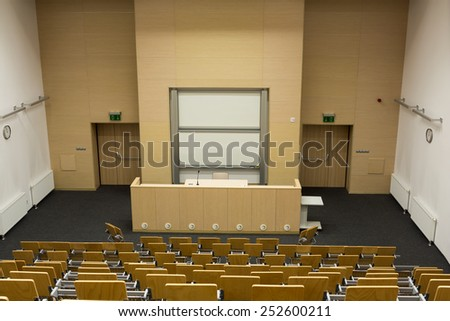 CRACOW, POLAND - JANUARY 29, 2015: University of Science and Technology interior of modern lecture room