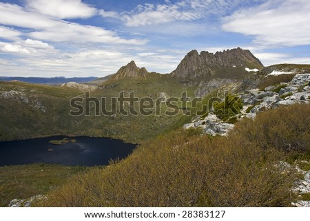 Cradle Mountain Tasmania Australia from marions lookout with dove lake below.