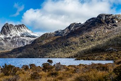 Cradle Mountain, Tasmania, Australia. Pristine natural open alpine environment, ideal as a backdrop for outdoor product themed composite advertising media creation and web pages.