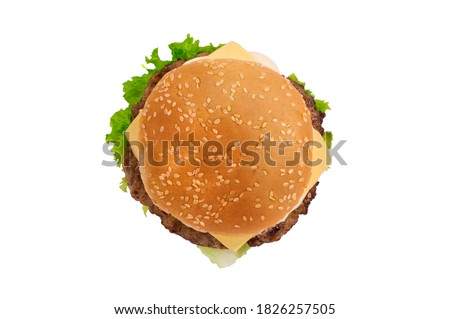 Craft burger isolated on white background. Top vew.