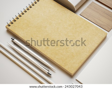 Craft note and other branding elements on white paper background