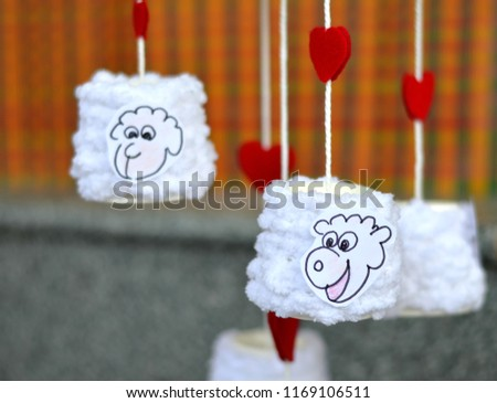 Craft Paper Cup Animal cartoon sheep character mobile red heart shape DIY  #1169106511