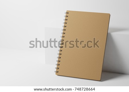 Craft  paper notebook near the white box. 3d rendering