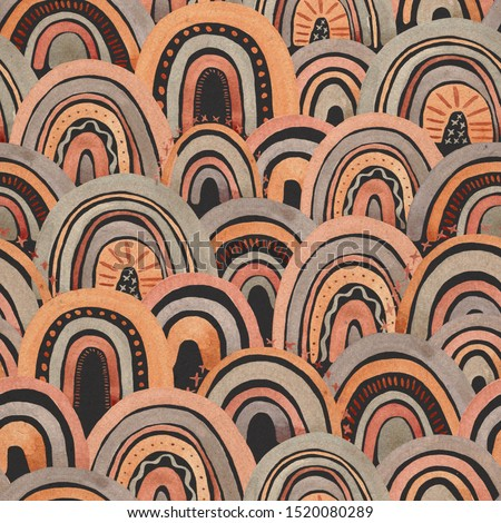 Craft rainbow pattern. Watercolor sky rainbow. Pattern with rainbow. Abstract seamless pattern with rainbow. #1520080289
