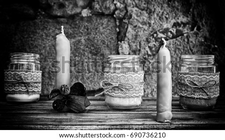 Craft wax candles in a market, object detail to give light #690736210