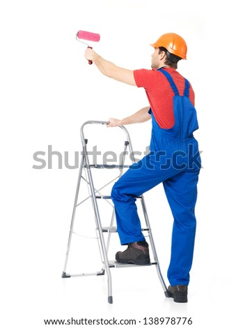 Craftsman painter stands on the stairs with brush, full portrait over white background