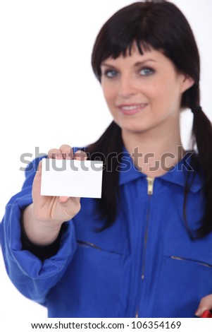 craftswoman showing card