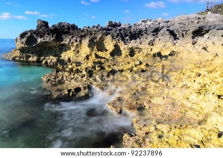 Craggy rocks along the seashore