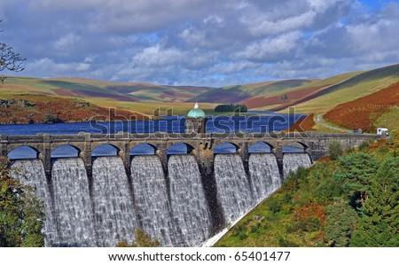 Craig Goch Dam in Autumn.  Elan Valley Wales.