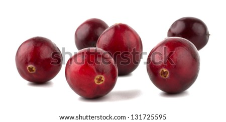 Cranberries closeup isolated on white background