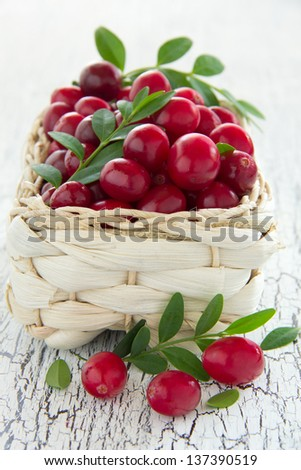cranberries in a basket.