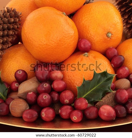 Cranberry and tangerine fruit with pecan, hazelnut and brazil nuts with pine cones and holly leaf sprigs.