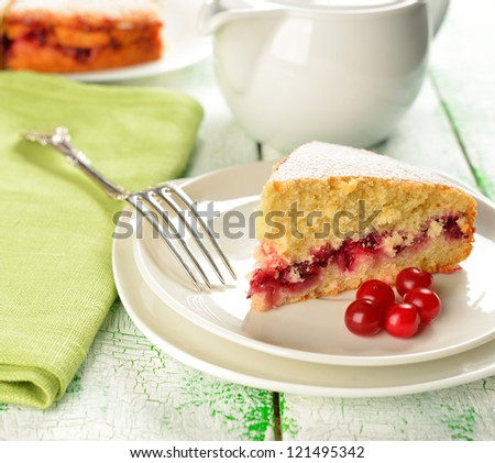 Cranberry cake on the white table