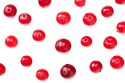 Cranberry isolated on white background. top view