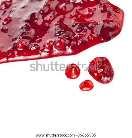 Cranberry Jam drops isolated on white background