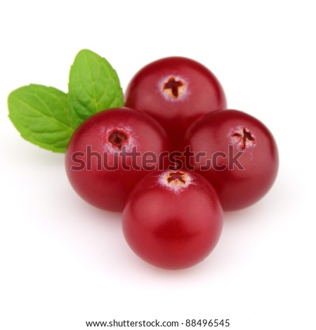 Cranberry with leaves of mint