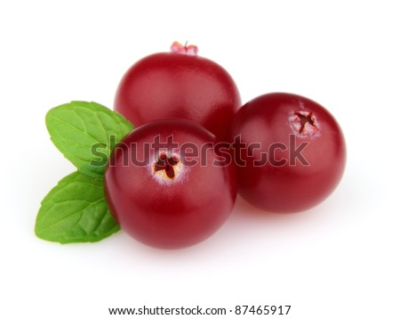 Cranberry with mint in closeup - stock photo