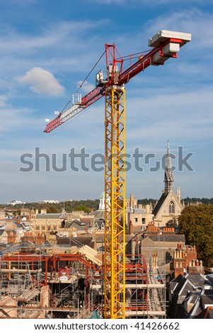 Crane and scaffolding in Oxford. England