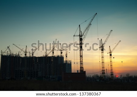 Crane at a construction site a new home