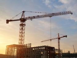 Crane building the power station.