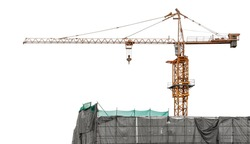 Crane for construction site equipment isolated on white background with clipping path
