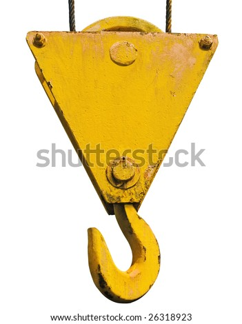 crane hook isolated with clipping path - stock photo