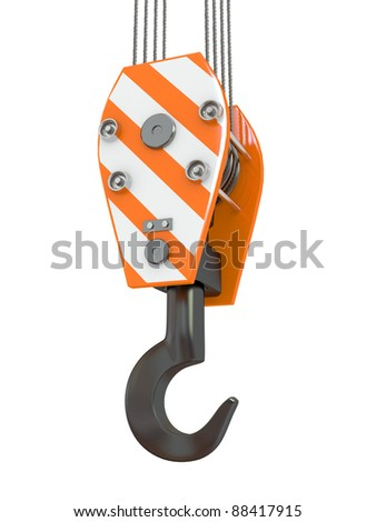 Crane hook on white isolated background. 3d