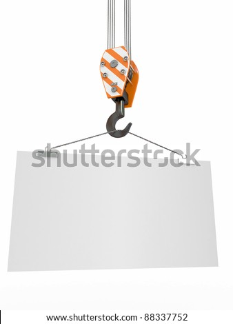 Crane hook with empty board on white isolated background. 3d