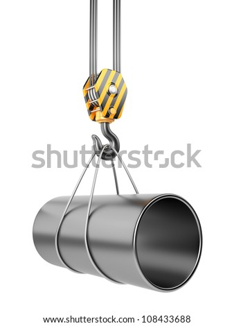 Crane hook  with steel pipe 3D. Isolated on white background