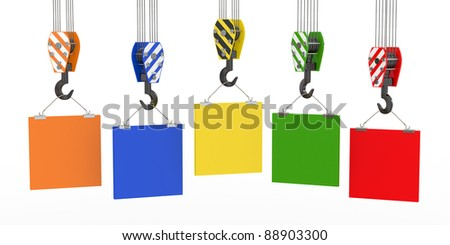 Crane hooks with empty boards on white background. 3d - stock photo