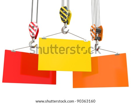 Crane hooks with empty boards on white background. 3d