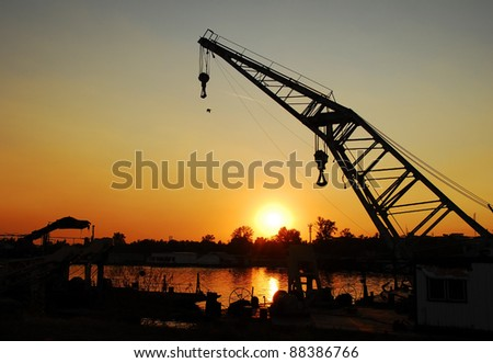 crane in port of Sava river