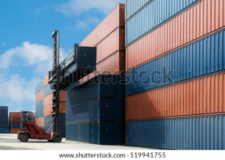 Crane lift up container box loading to container depot use for cargo import, export, logistics background.