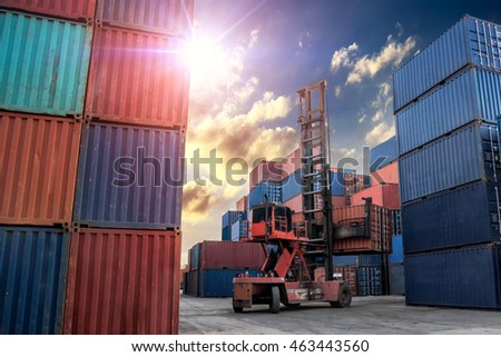 Crane lifter handling container box loading Industrial Container Cargo freight ship for Logistic Import Export concept