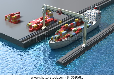 Crane lifting cargo container and loading the ship - stock photo