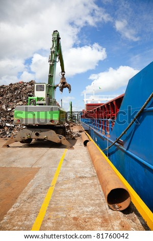 Crane Loading cargo Ship With Recycling Steel, Galway docks