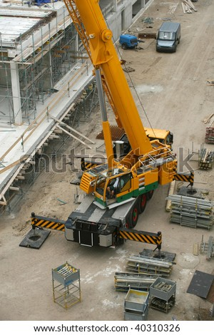 Crane on construction site.
