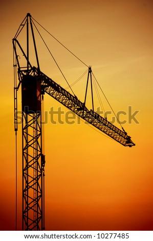 Crane on the sunset