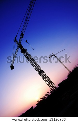 crane silhouette  on sunset purple tones