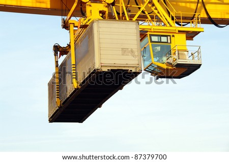 Crane transporting container