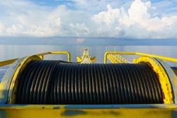 Crane winch, Steel wire rope drum on crane offshore platform