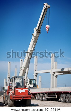 Crane works on construction