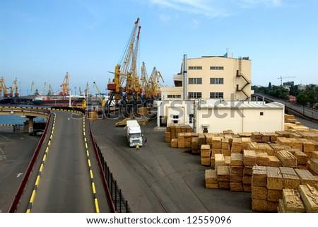 Cranes and cargo in Odessa seaport, Ukraine