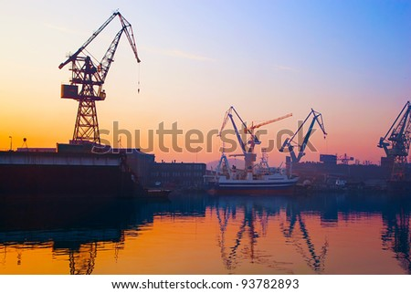 Cranes at historical shipyard in Gdansk, Poland