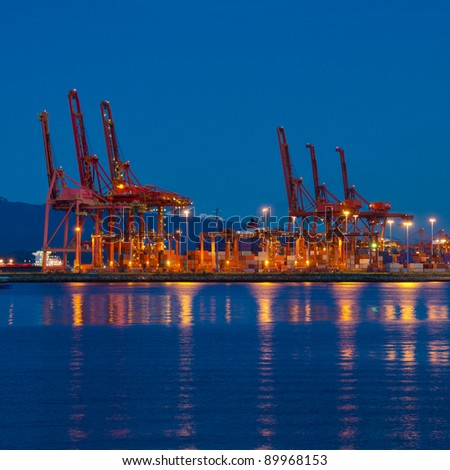 cranes at the container port terminal in Vancouver BC