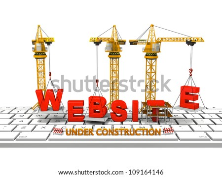 Cranes building a website on a computer keyboard, concept of website under construction