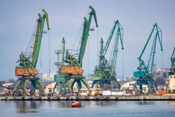 Cranes in a shipyard used for wheat and coal shipping