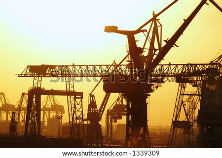 Cranes in Hamburg harbor, germany.